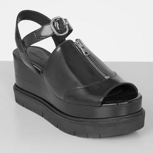 All Saints Gino Platform Wedge Black Leather Zip Detail  Sandals Size 39